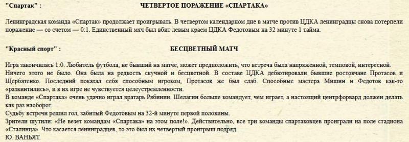 ЦДКА (Москва) - Спартак (Ленинград) 1:0. Нажмите, чтобы посмотреть истинный размер рисунка