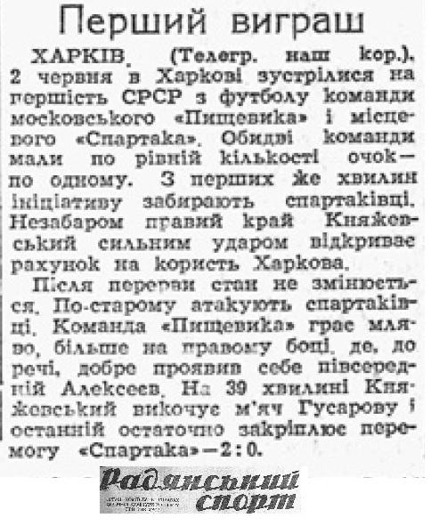 Спартак (Харьков) - Пищевик (Москва) 2:0