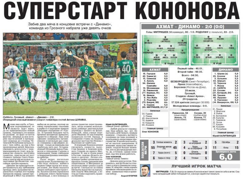 Ахмат (Грозный) - Динамо (Москва) 2:0. Нажмите, чтобы посмотреть истинный размер рисунка