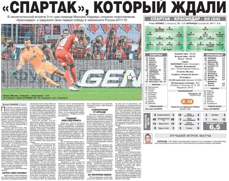 Спартак (Москва) - Краснодар (Краснодар) 2:0. Нажмите, чтобы посмотреть истинный размер рисунка