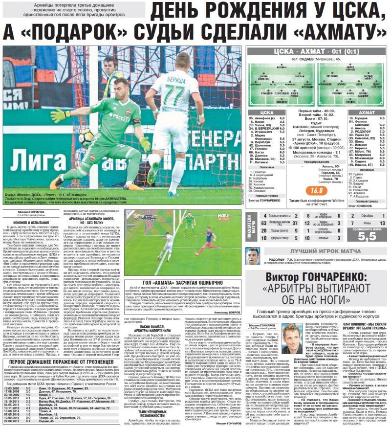 ЦСКА (Москва) - Ахмат (Грозный) 0:1. Нажмите, чтобы посмотреть истинный размер рисунка