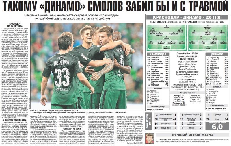Краснодар (Краснодар) - Динамо (Москва) 2:0. Нажмите, чтобы посмотреть истинный размер рисунка