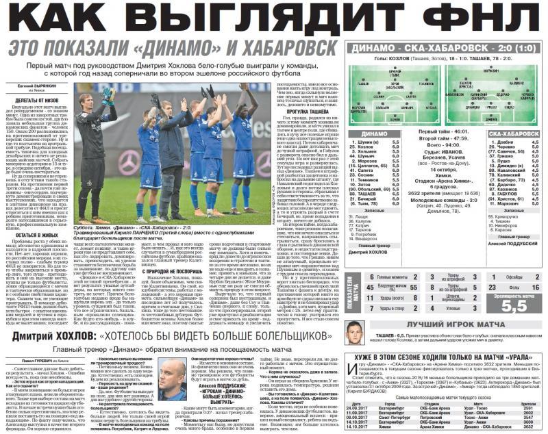 Динамо (Москва) - СКА-Хабаровск (Хабаровск) 2:0. Нажмите, чтобы посмотреть истинный размер рисунка