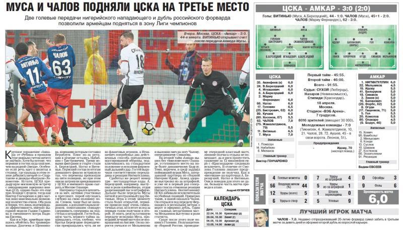 ЦСКА (Москва) - Амкар (Пермь) 3:0. Нажмите, чтобы посмотреть истинный размер рисунка