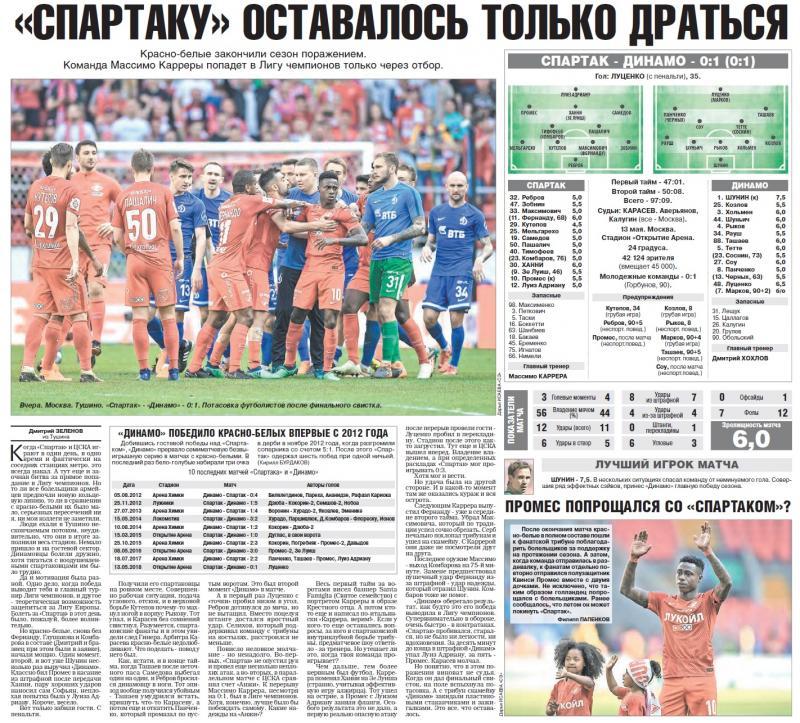 Спартак (Москва) - Динамо (Москва) 0:1. Нажмите, чтобы посмотреть истинный размер рисунка