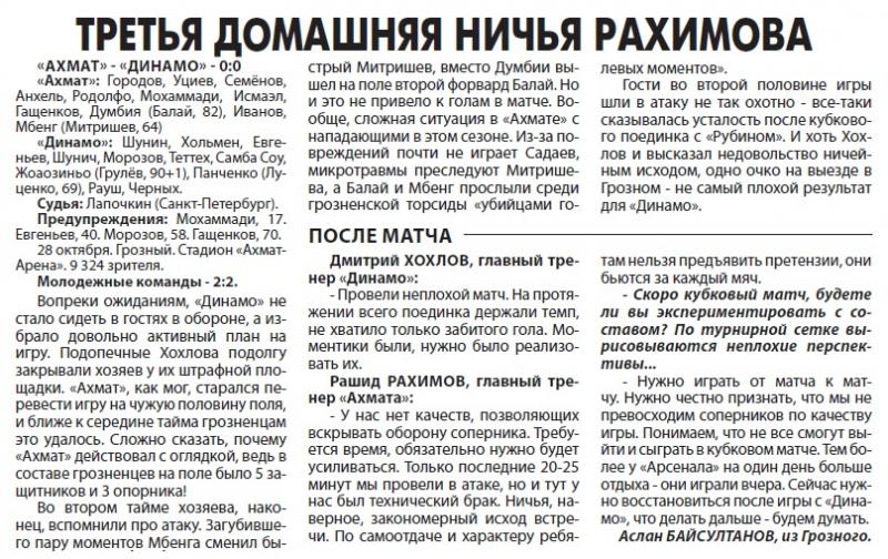 Ахмат (Грозный) - Динамо (Москва) 0:0. Нажмите, чтобы посмотреть истинный размер рисунка