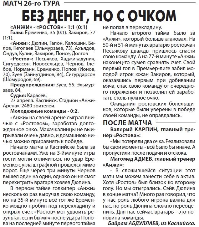 Анжи (Махачкала) - Ростов (Ростов-на-Дону) 1:1