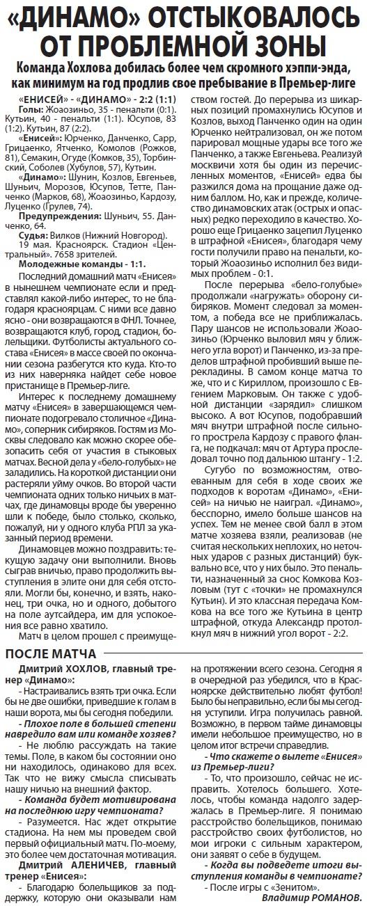 Енисей (Красноярск) - Динамо (Москва) 2:2