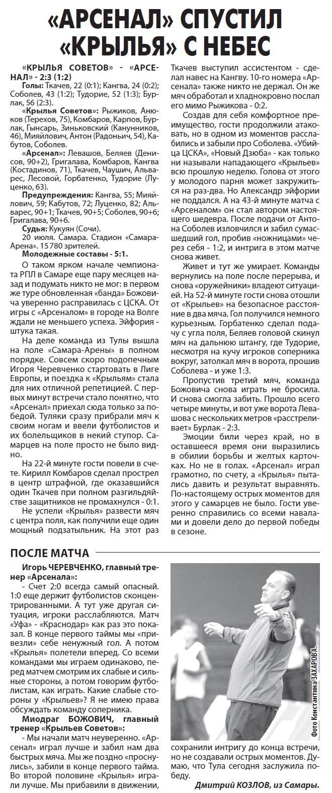 Крылья Советов (Самара) - Арсенал (Тула) 2:3