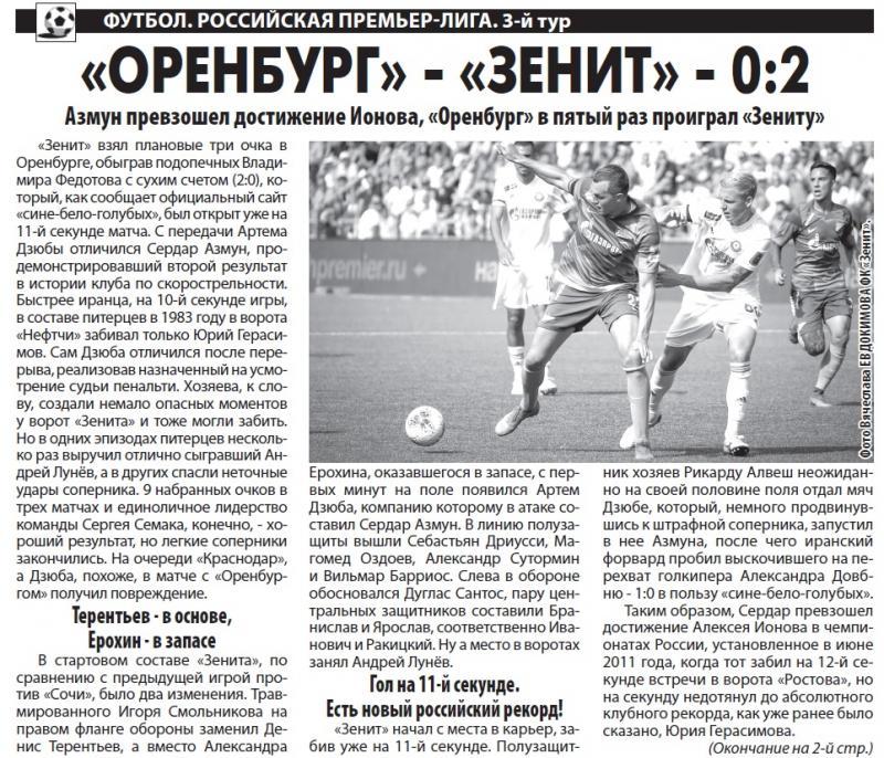 Оренбург (Оренбург) - Зенит (Санкт-Петербург) 0:2. Нажмите, чтобы посмотреть истинный размер рисунка