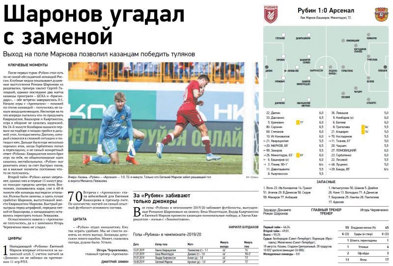 Рубин (Казань) - Арсенал (Тула) 1:0. Нажмите, чтобы посмотреть истинный размер рисунка