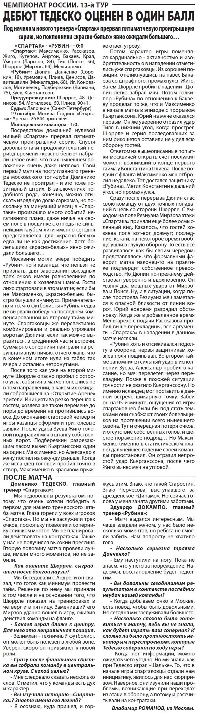 Спартак (Москва) - Рубин (Казань) 0:0
