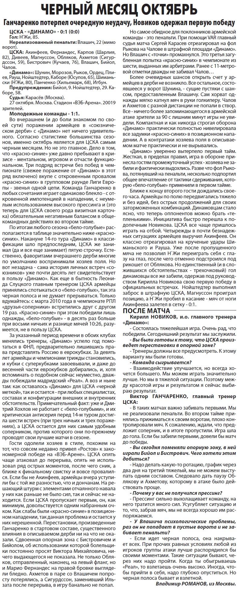 ЦСКА (Москва) - Динамо (Москва) 0:1