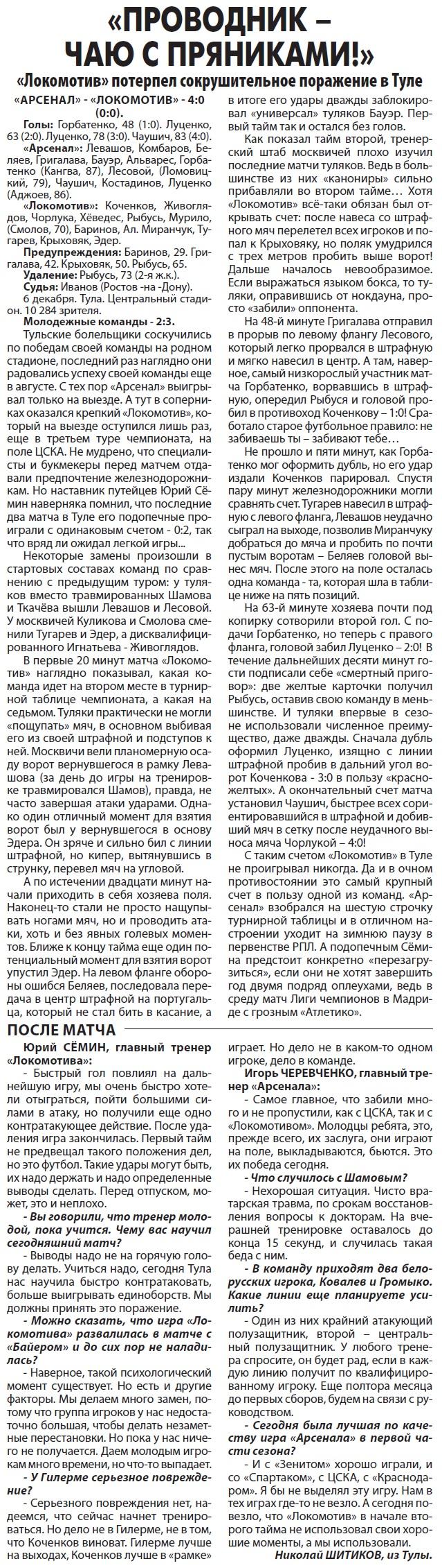 Арсенал (Тула) - Локомотив (Москва) 4:0