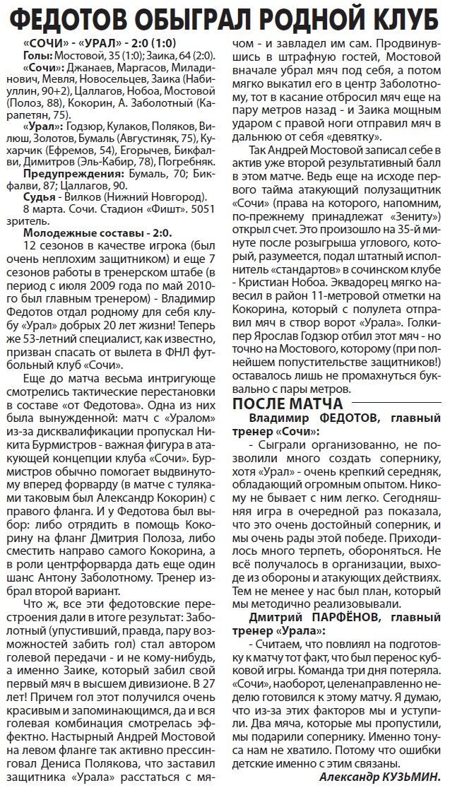 Сочи (Сочи) - Урал (Екатеринбург) 2:0