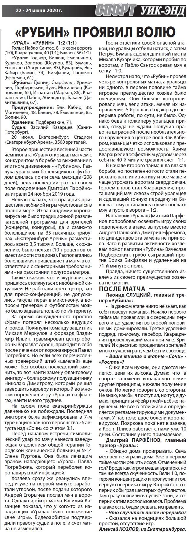 Урал (Екатеринбург) - Рубин (Казань) 1:2