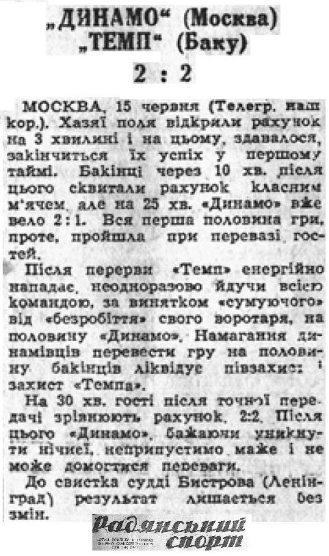 Динамо (Москва) - Темп (Баку) 2:2