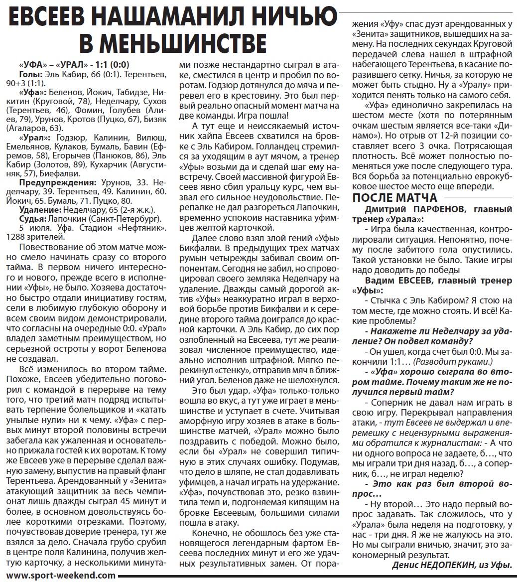 Уфа (Уфа) - Урал (Екатеринбург) 1:1. Нажмите, чтобы посмотреть истинный размер рисунка