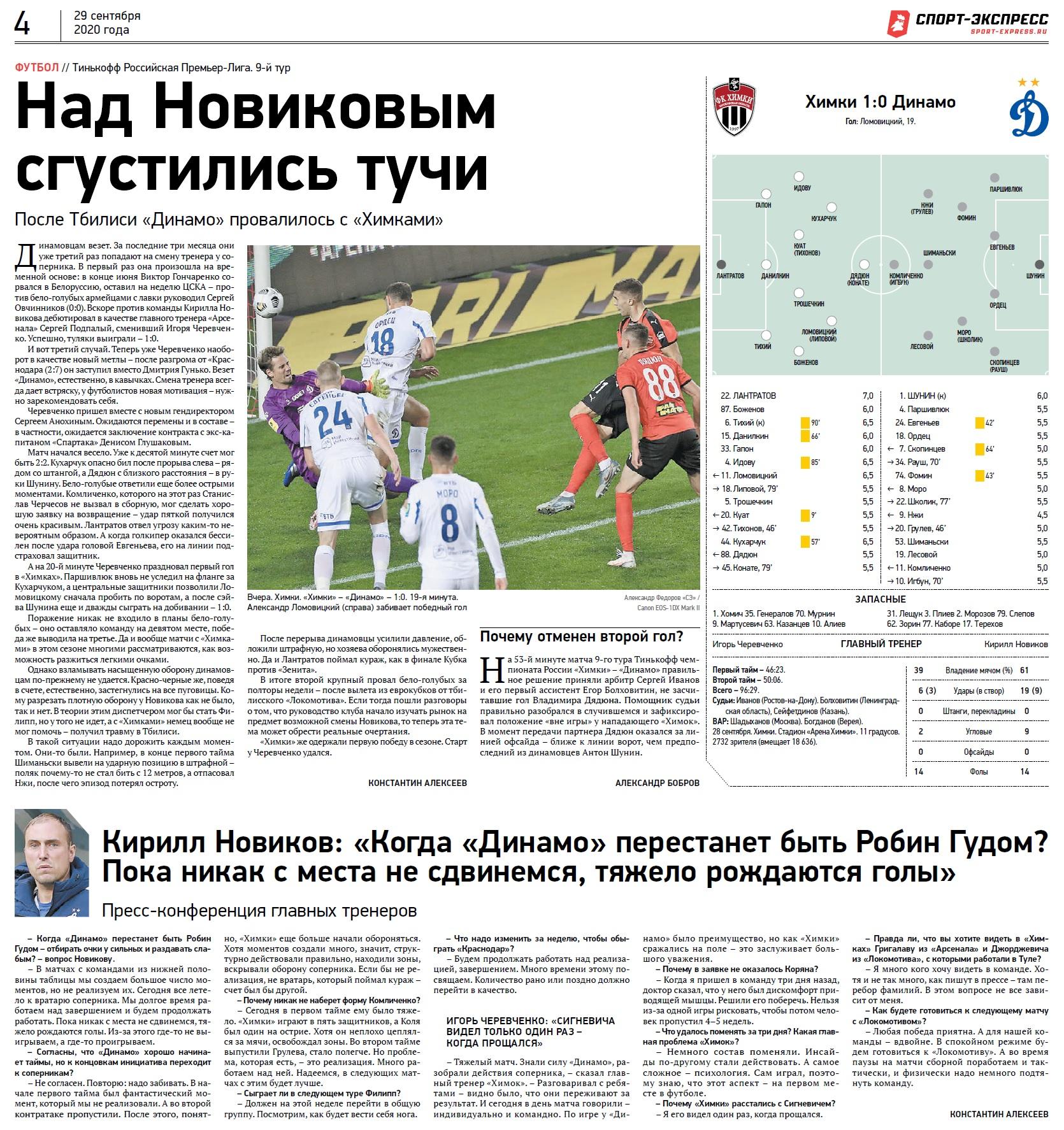 Химки (Химки) - Динамо (Москва) 1:0. Нажмите, чтобы посмотреть истинный размер рисунка