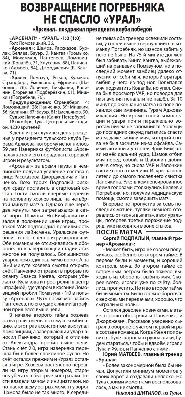 Арсенал (Тула) - Урал (Екатеринбург) 1:0