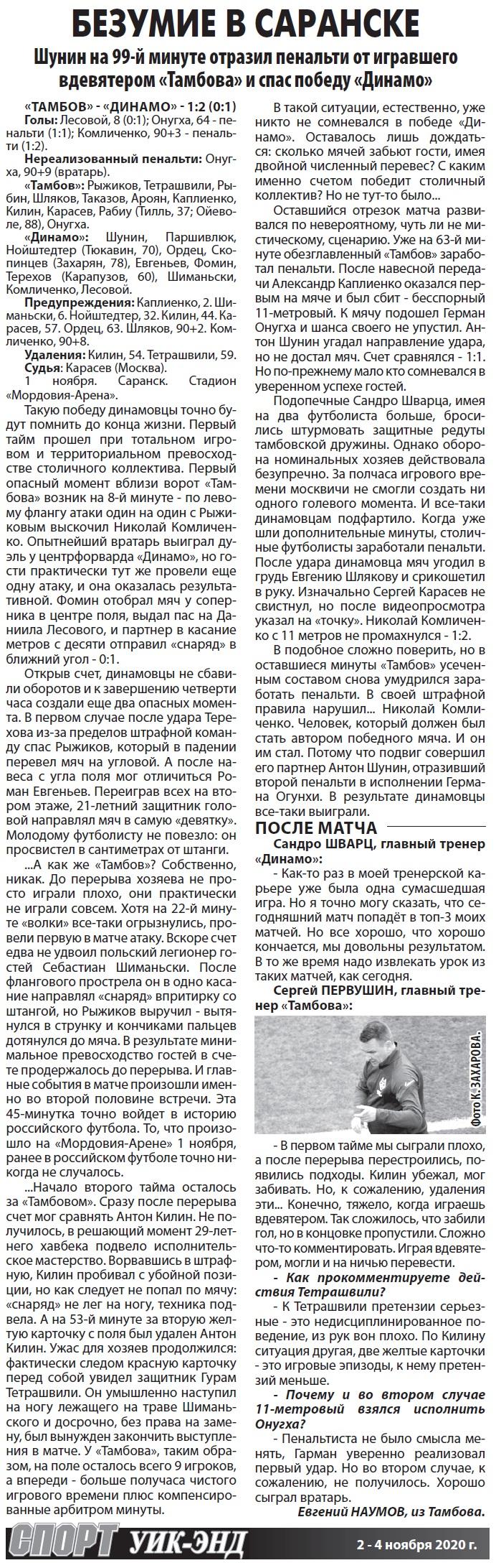 Тамбов (Тамбов) - Динамо (Москва) 1:2