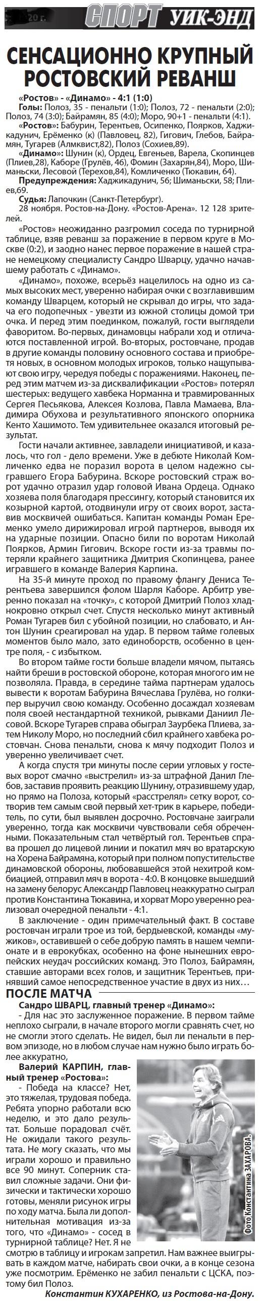 Ростов (Ростов-на-Дону) - Динамо (Москва) 4:1