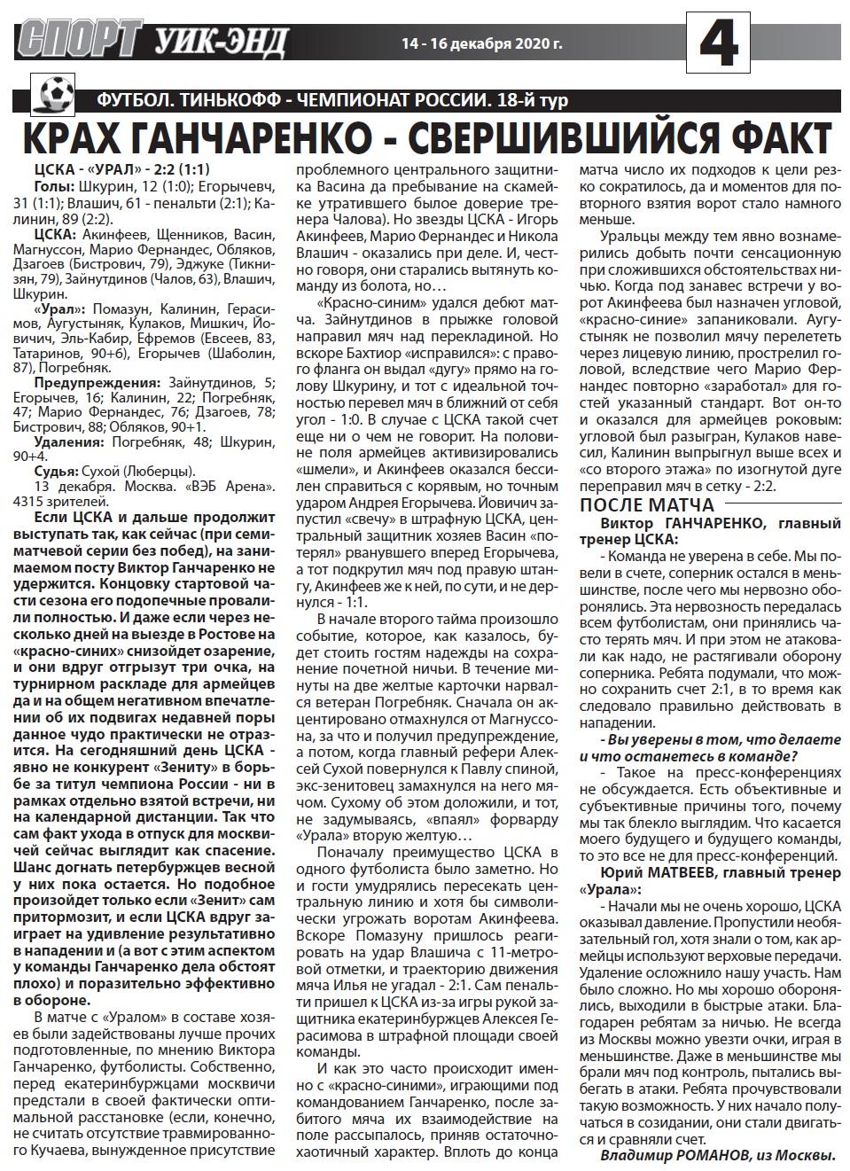 ЦСКА (Москва) - Урал (Екатеринбург) 2:2. Нажмите, чтобы посмотреть истинный размер рисунка