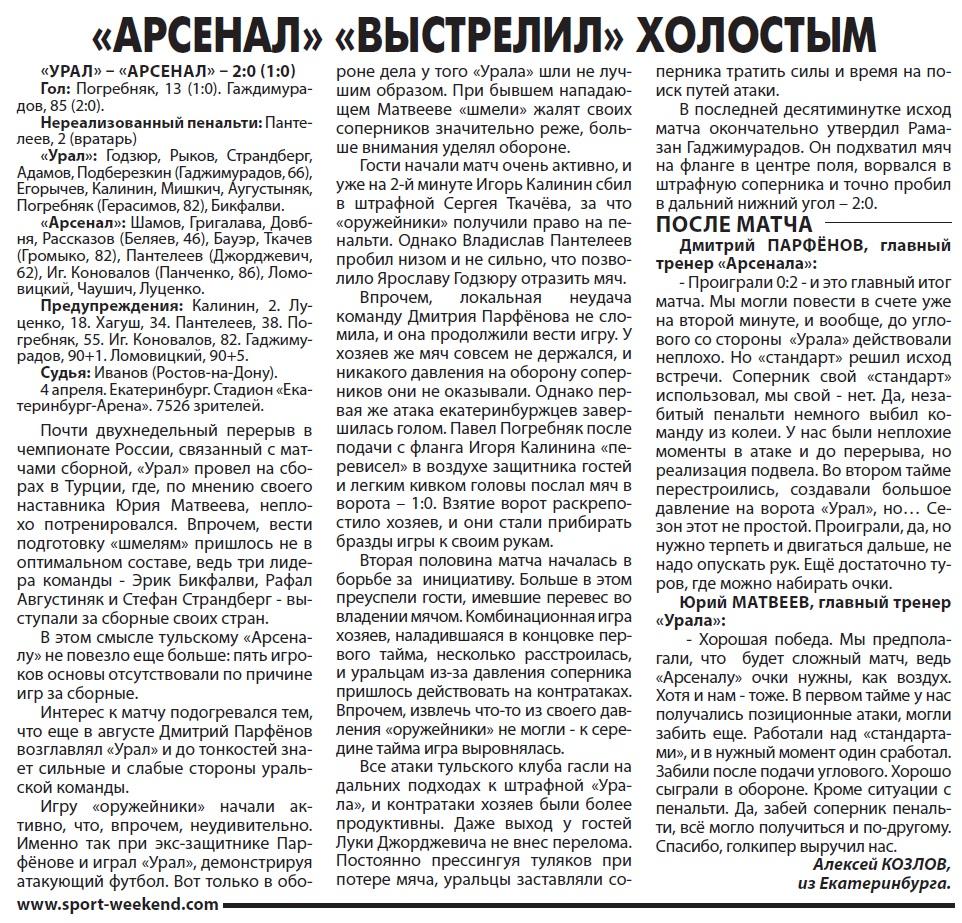 Урал (Екатеринбург) - Арсенал (Тула) 2:0. Нажмите, чтобы посмотреть истинный размер рисунка