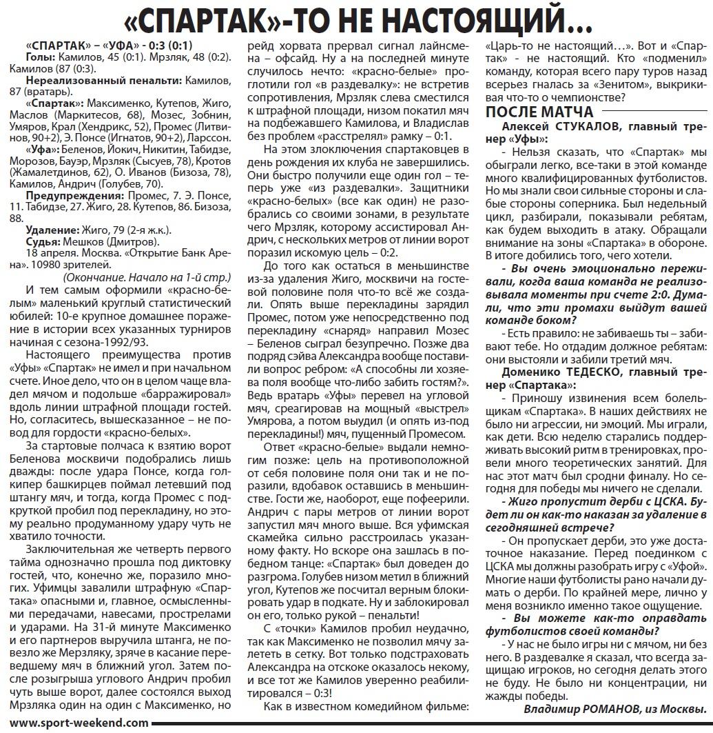 Спартак (Москва) - Уфа (Уфа) 0:3. Нажмите, чтобы посмотреть истинный размер рисунка