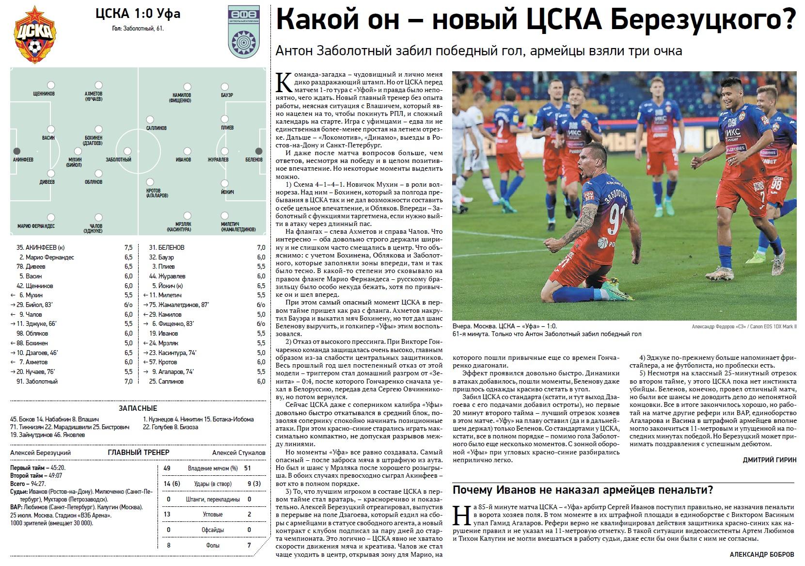 ЦСКА (Москва) - Уфа (Уфа) 1:0. Нажмите, чтобы посмотреть истинный размер рисунка