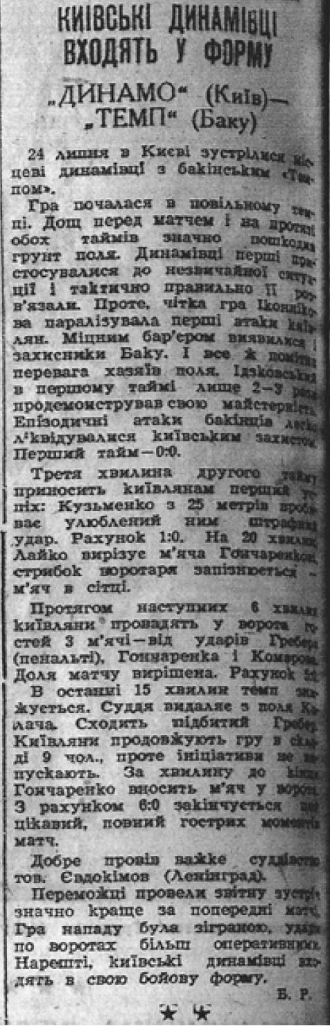 Динамо (Киев) - Темп (Баку) 6:0
