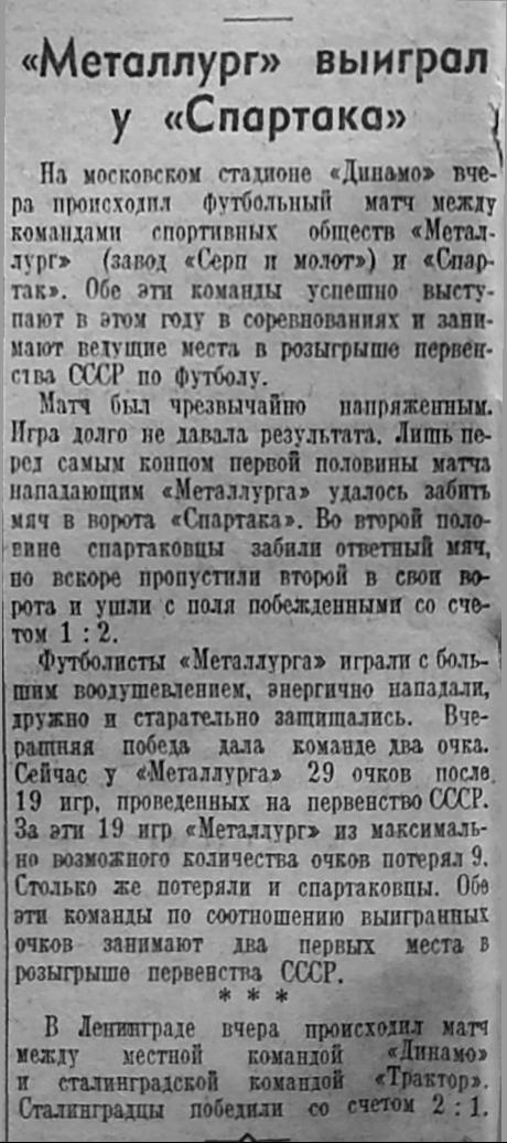 Металлург (Москва) - Спартак (Москва) 2:1