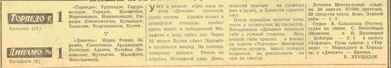 Торпедо (Кутаиси) - Динамо (Минск) 1:1. Нажмите, чтобы посмотреть истинный размер рисунка