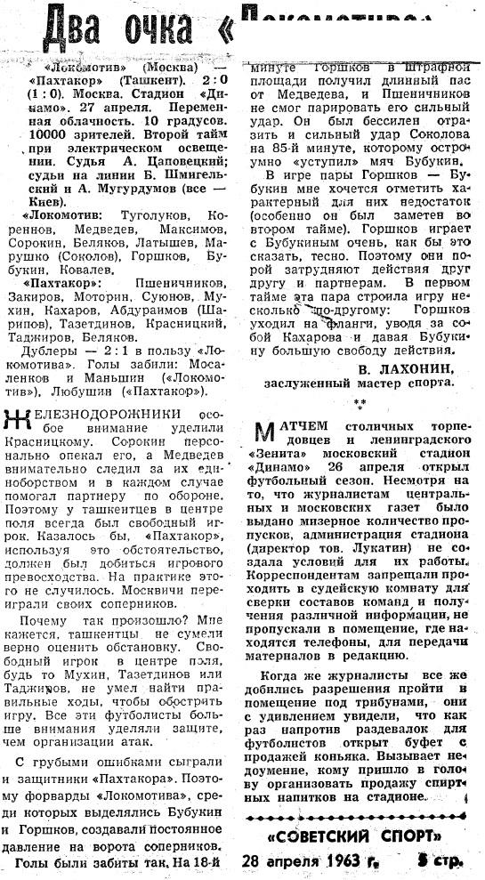 Локомотив (Москва) - Пахтакор (Ташкент) 2:0