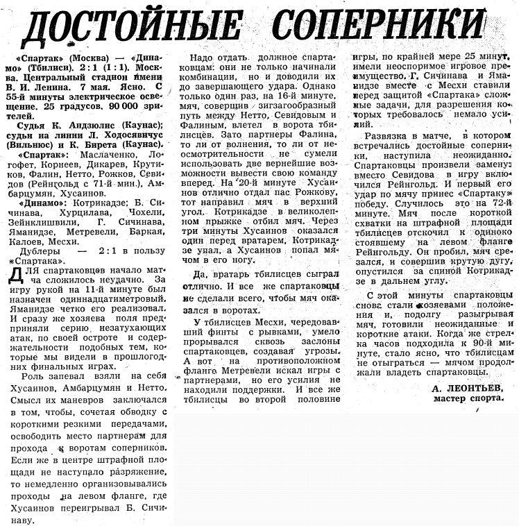 Спартак (Москва) - Динамо (Тбилиси) 2:1