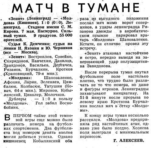 Зенит (Ленинград) - Молдова (Кишинев) 1:0