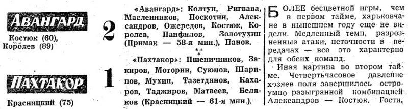 Авангард (Харьков) - Пахтакор (Ташкент) 2:1. Нажмите, чтобы посмотреть истинный размер рисунка