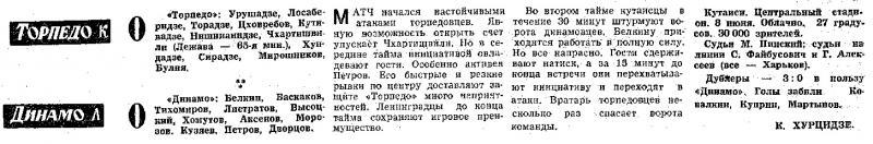 Торпедо (Кутаиси) - Динамо (Ленинград) 0:0. Нажмите, чтобы посмотреть истинный размер рисунка