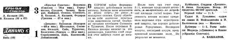 Крылья Советов (Куйбышев) - Динамо (Киев) 3:1. Нажмите, чтобы посмотреть истинный размер рисунка