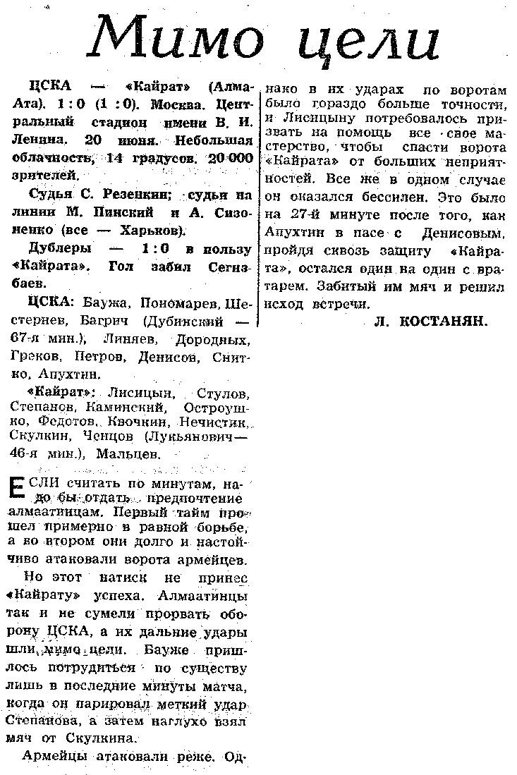 ЦСКА (Москва) - Кайрат (Алма-Ата) 1:0