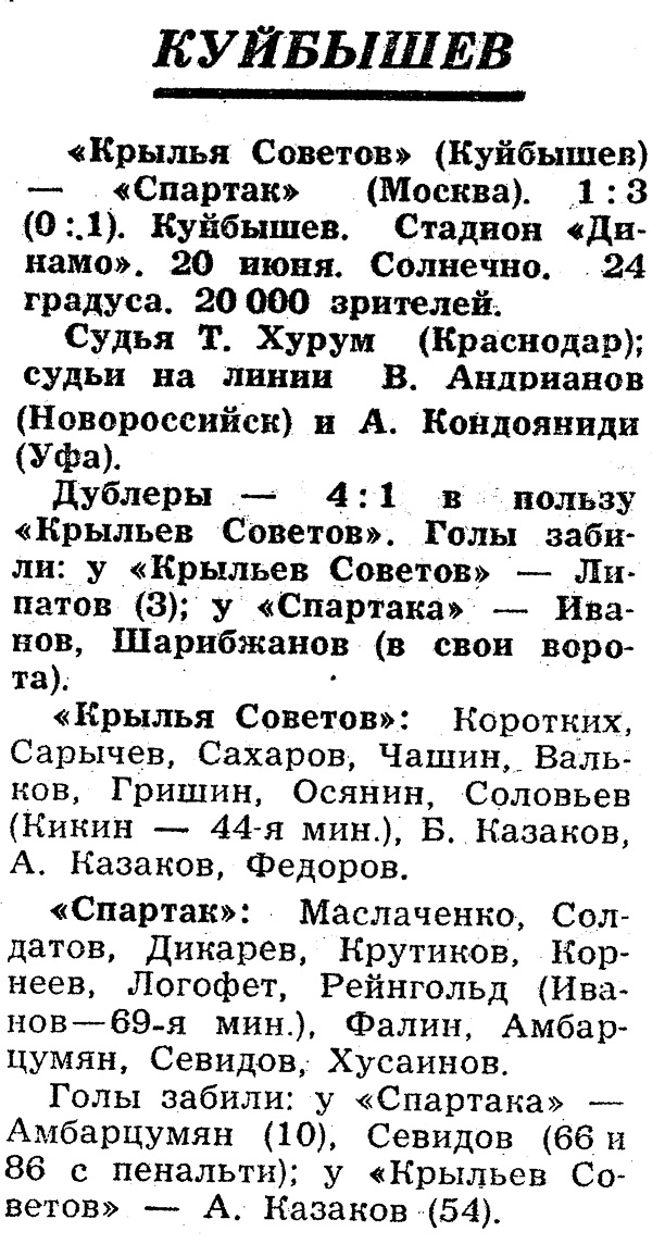 Крылья Советов (Куйбышев) - Спартак (Москва) 1:3