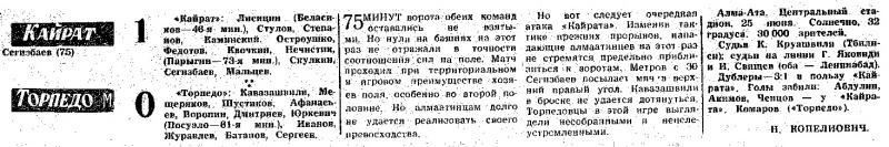 Кайрат (Алма-Ата) - Торпедо (Москва) 1:0. Нажмите, чтобы посмотреть истинный размер рисунка