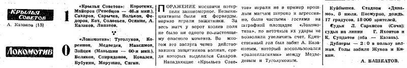 Крылья Советов (Куйбышев) - Локомотив (Москва) 1:0. Нажмите, чтобы посмотреть истинный размер рисунка