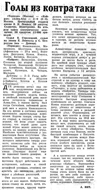 Торпедо (Москва) - Кайрат (Алма-Ата) 3:0