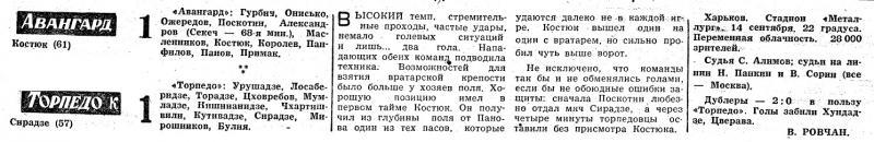Авангард (Харьков) - Торпедо (Кутаиси) 1:1. Нажмите, чтобы посмотреть истинный размер рисунка