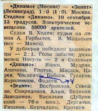 Динамо (Москва) - Зенит (Ленинград) 1:0