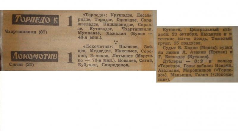 Торпедо (Кутаиси) - Локомотив (Москва) 1:1. Нажмите, чтобы посмотреть истинный размер рисунка