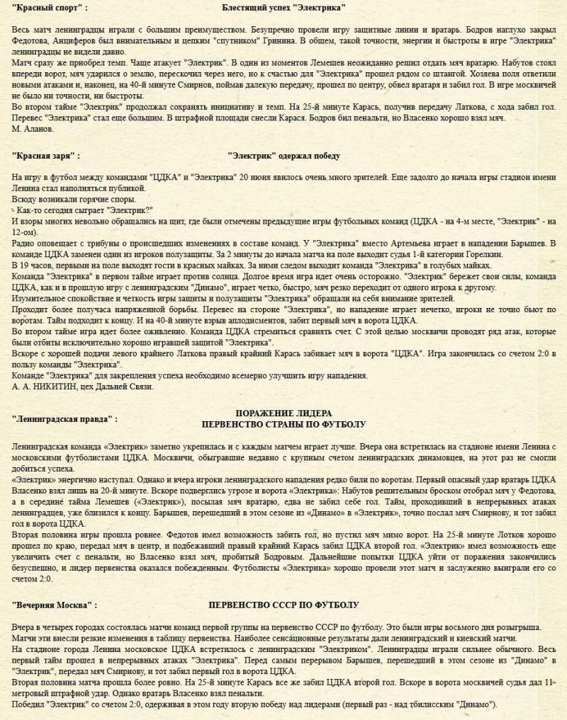 Электрик (Ленинград) - ЦДКА (Москва) 2:0. Нажмите, чтобы посмотреть истинный размер рисунка