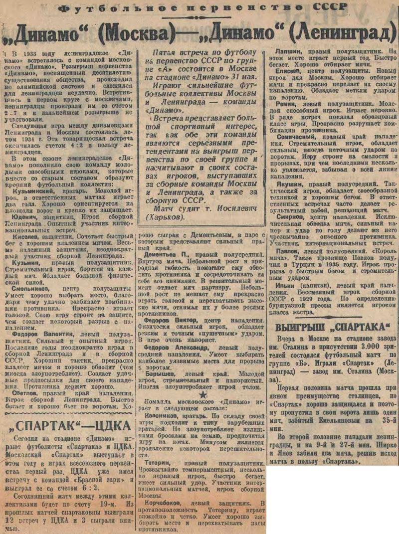 Динамо (Москва) - Динамо (Ленинград) 2:0. Нажмите, чтобы посмотреть истинный размер рисунка