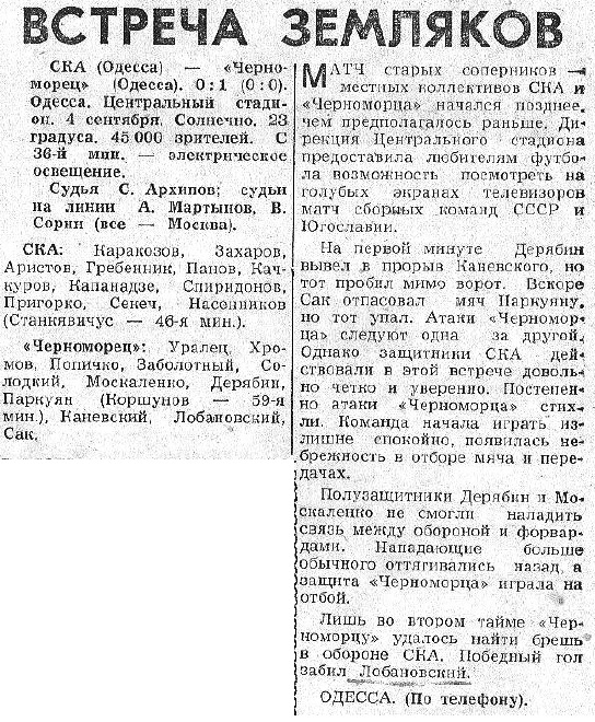 СКА (Одесса) - Черноморец (Одесса) 0:1